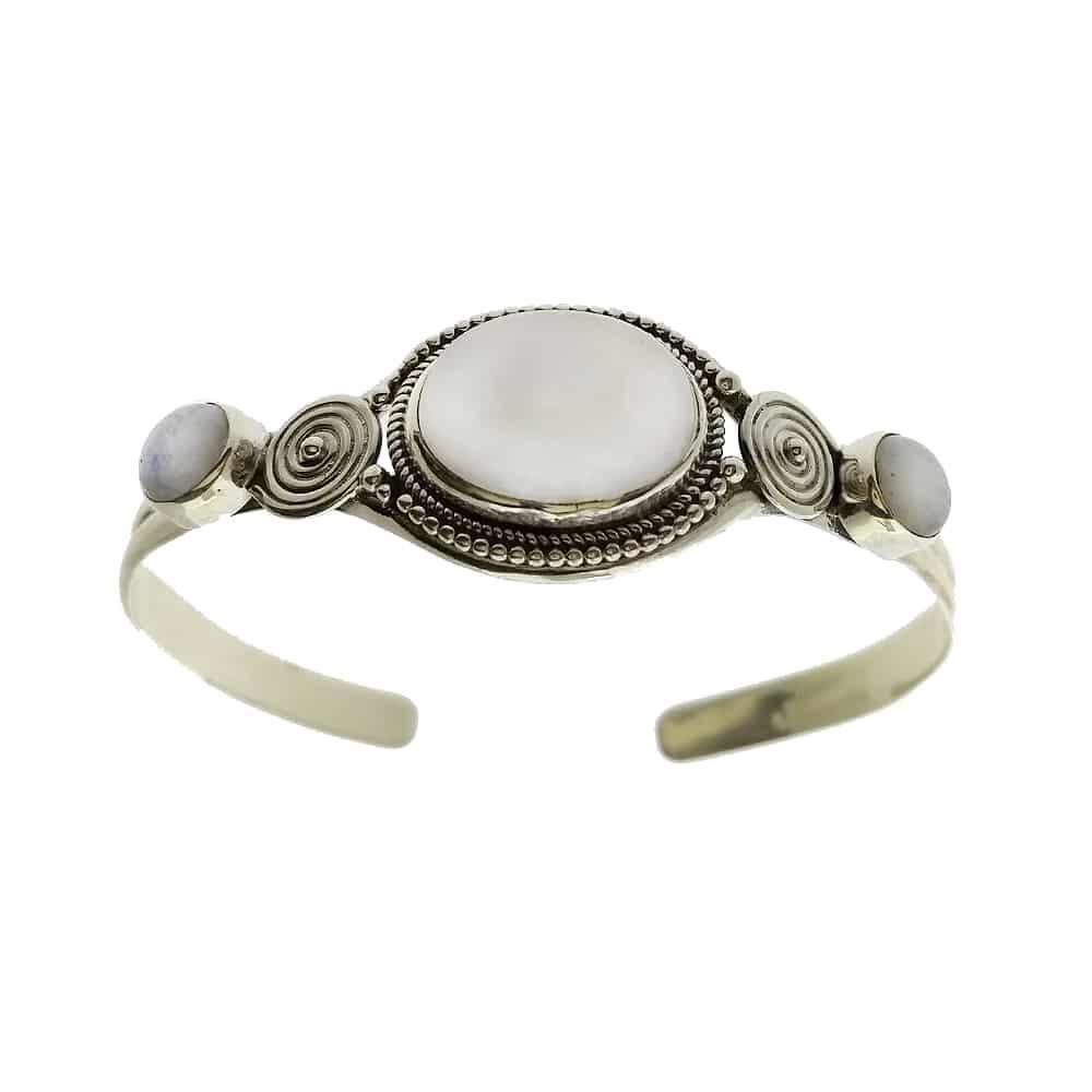 Bracelete em prata 950 com pedra branca